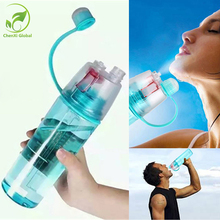 New Sports Spray Water Bottles Dual-use Plastic Bottle for Water Space Bottle 0.6L/0.4L for Bicycle Tour Trip Bpa Free Drinkware(China)