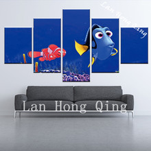 high quality 5 pieces lovely ocean fish canvas painting poster for bedroom wall decoration oil painting on canvas wall pictures(China)
