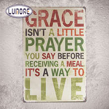 """GRACE...PRAYER.... LIVE"" Stickers Decor Iron Retro Tin Metal Signs Plaques J24"