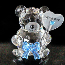 Huge Size Crystal Glass Bear Figurines Paperweight Feng Shui Ornaments Animals Crafts Home Wedding Decor Gifts Souvenirs(China)