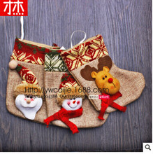 2017 New Year 17x10Cm Christmas Stockings  Natal Hand Making Crafts Children Candy Bag The Old Man Snowman christmas gifts Bags