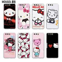 MOUGOL lovely Hello Kitty design transparent hard case cover for Huawei P10 P9 Plus P8 P9 lite Mate S 9 8