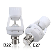 Hot Sale Lamp Base E27/B22 To E14/E27 Infrared  PIR Induction Motion Sensor Switch Socket Lamp Base Holder Light Bulb AC110-240V