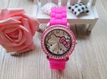 Quartz Silicone Strap Rhinestone Cartoon color Hello Kitty Watch Women Kid watch 10pcs/lot