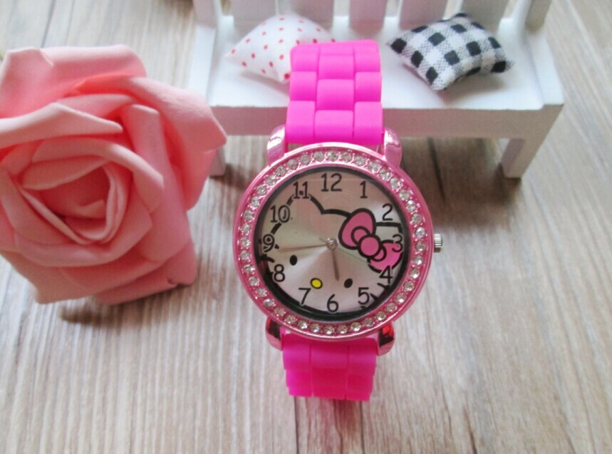 Quartz Silicone Strap Rhinestone Cartoon color Hello Kitty Watch Women Kid watch 10pcs/lot(China (Mainland))