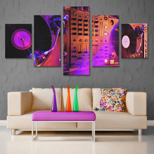 DJ Night club of mural bar production wholesale canvas print poster 5 piece canvas art Music dance hall modern the bar wall(China)
