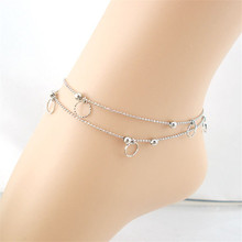 Silver Color Anklets 2017 Hot Double Small Circle Anklet Bracelet Sandal Barefoot Beach Foot Jewelry JC27