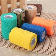 Top Quality 7.5cm X4.5M Therapeutic Self Adhesive Elastic Gauze Tape Outdoor Sports Physio Muscles Care Bandage Fabric(China)