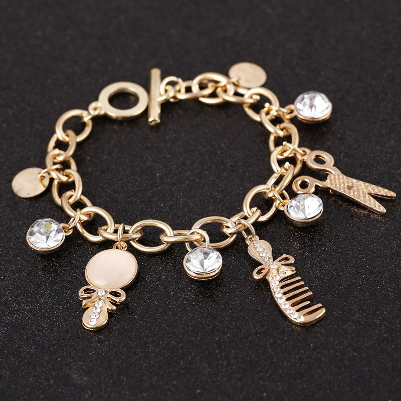 ZOSHI Fashion Rare Charm Opal Scissors Combs Bracelets Women Bangle Cuff Rose Gold Color Brand Bracelets Bangles Jewelry