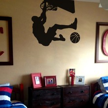 Side View Basketball Wall Art Stickers Removable House Decor For Sport Boys Bedroom Montoxic PVC Wall Decals GYM Wallpaper ZA217