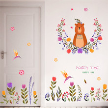 Buy Colorful Flower Birds Bear Wall Stickers Kids Rooms Kindergarten Nursery Baby Children Room Decor Wall Decal Art Mural DIY for $4.96 in AliExpress store