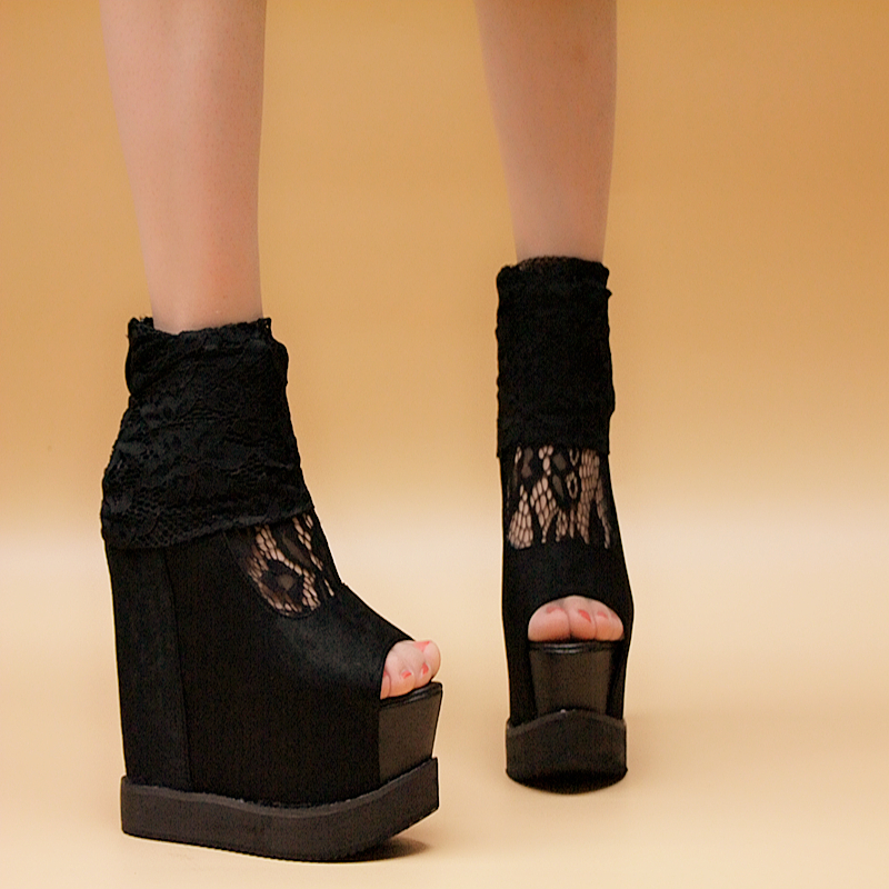Women High Heels Wedges Shoes Open Toe Platform Lace Black Shoes For Autumn sy-802<br><br>Aliexpress