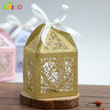 50pcs/lot Wedding Candy Box Romantic Heart glitter paper 6 color gold pink rose blue Bag Wedding Favors Gifts Box Party Supplies(China)