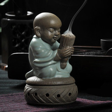 tea pet ceramic burner incense monk sandalwood home decor statue figurine buddha wishing candle furnace base(China)