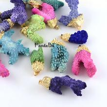 Dyed Natural Coral Big Pendants with Golden Plated Iron Findings, Mixed Shape, Mixed Color, 33~80x20~70x10~37mm, Hole: 4x6mm(China)