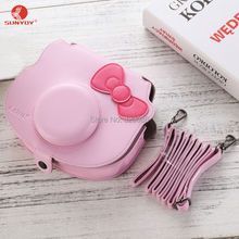 Camera Case Bag in Pink Color with Bowknot for Fujifilm Instax Mini Hello Kitty Camera with Shoulder Strap, free shipping