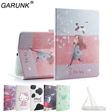 Case for iPad Air 1st Air 2 9.7'',GARUNK Painting Kitty Cat Cute Tower Girl Filp Leather Cover for iPad 5 6 Tablet Accessories(China)