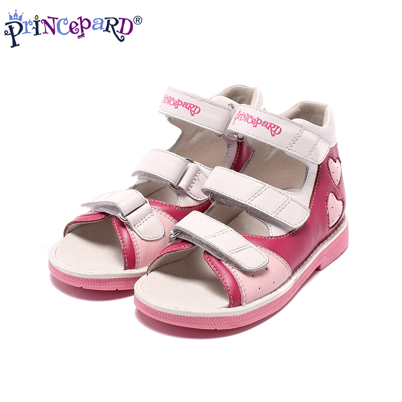 Princepard 2019 summer Preventive shoes for kids pink navy genuine leather kids orthopedic sandals 1st pigskin lining size 21-36