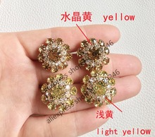 10pcs/lot 22mm yellow crystal rhinestone button gold metal button with stones for women over coat sweater garment embellishments