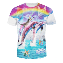 2017 Brand New Dolphins 3d T-Shirt Rainbow Kitten Laser All Over Print Colorful Men T shirt
