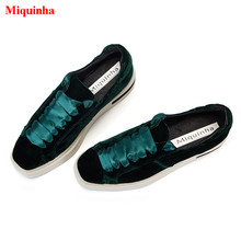 Green Velvet Satin Silk Bow Tie Lace Casual Flat Platform Women Shoes Square Toe Low-Top Mixed Color Trainers Sapato Feminino
