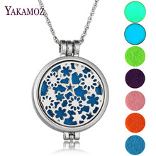 2017 Hot Sale Luminous Jewelry Perfume Necklace Aromatherapy Diffuser Locket Stars Flower Pendant Necklace Best Friends Gift DIY