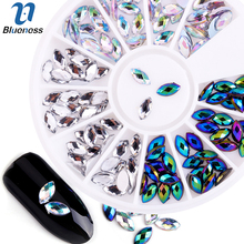 Blueness Marquise Design Acrylic Nails Accessories Manicure Wheel Horse Eye Rhinestones Decorations For Charms 3D Nail Art ZP074(China)