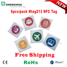 6pcs/pack Tracking PET Waterproof NFC tags NTAG 213 rfid HF nfc tag Logo Printing Access Control For Smart Phone HF reader