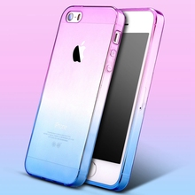 Only For iPhone 5C Case Luxury Slim Gradient Color TPU Silicone Gel Case For iPhone 5C Transparent Rubber Skin Cover Funda Capa
