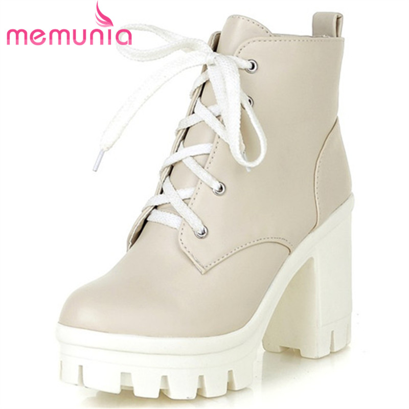 MEMUNIA 2018 New Fashion sexy womens ankle boots high heels Punk platform Women autumn boots ladies shoes<br>
