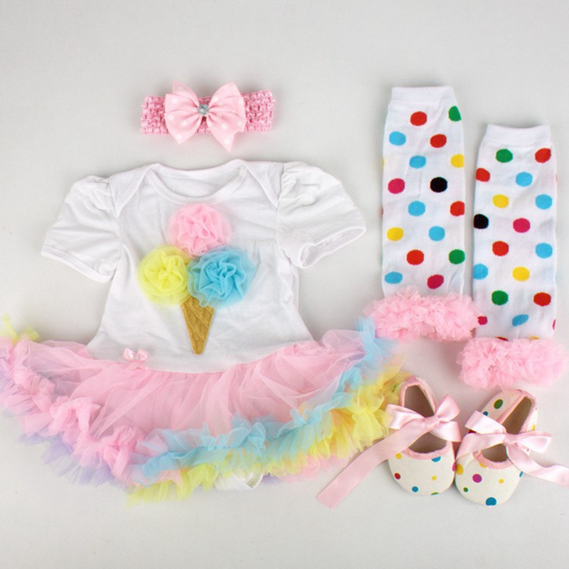 2015 Ice Cream Ruffle Lace Romper Dress Legwarmers Shoes Headband 4pcs Baby Clothes Sets Childhood Fantasy Toddler Girl Clothing<br><br>Aliexpress