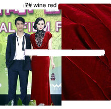 Wholesale Wine Red  Silk Velvet Fabric Back Is Silk Fabric , Hair Is Viscose