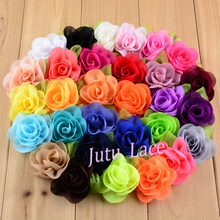 30 Colors shabby flower -wholesale headwear mini chiffon  fabric rose flowers with leaf 4cm hair clips hair flower