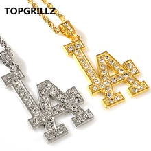 TOPGRILLZ Hip Hop Crystal Gold Color Plated LA Pendant Necklace Men Women Personality Trend Street Dancing Fashion Jewelry