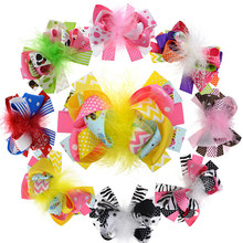 8PCS 5 Inch Large Loopy Puffs Hairclip For Women Juniors Fashion Hair Bows With Feather Hair Accessories Girls Headwear(China)