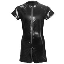 Buy Plus size S-3XL Men Bodysuit Faux Leather Mesh Patchwork Open Crotch Zipper Jumpsuit Fetish Catsuit Lingerie Clubwear