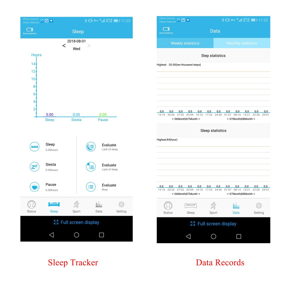 Sleep Tracker and Data Record