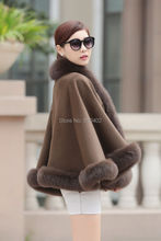 "free shipping/Lady's Genuine  Real Cashmere Genuine Fox  Fur Coat  ""A"" word style Cloak Poncho/shawl//cape Wraps/dark Camel"