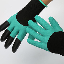 NEW 1 Pair Rubber TPR Thermo Plastic Builders Work ABS Plastic Claws Household Garden Digging Gloves Safety Gloves(China)