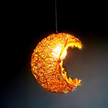 Modern Personalized Creative Rattan Moon Chandelier Children Bedroom  Cafe Tea House hanging ceiling Lamp home decorative Fixtur