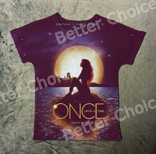 Track Ship+New Fresh Summer Hot T-shirt Top Tee Once Upon A Time Long Hair Girl Emma Swan Sitting on Sea Under Moon 0845