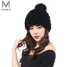YWMQFUR Winter fur hat for women real rex rabbit fur cap fox ball fur beanies hats thick warm headwear 2017 brand new hat H37