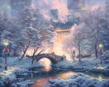 Holiday at Central Park Thomas Kinkade HD Canvas Print Living Room Bedroom Wall Pictures Art Painting Home Decoration No Frame(China)