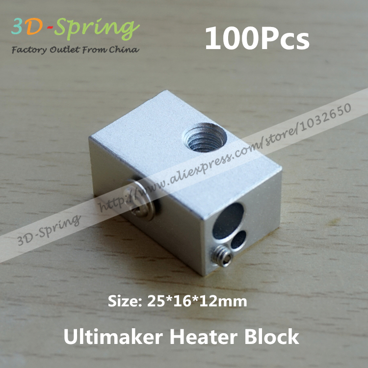100Pcs Ultimaker Heater Block Extruder For Aluminium Print Head Hot End Heating Block 25*16*12 25x16x12 mm For 3D Printer<br><br>Aliexpress