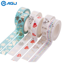 AAGU 15mm*10m Red Cupid Bow Foil Washi Tape Wide Note Masking Tape School Office Supplies Paper Tape For DIY Making