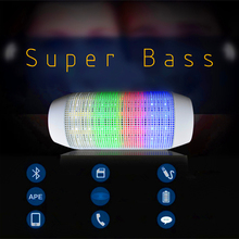 New Outdoor Portable Wireless Bluetooth Stereo Bass Speaker LED Lights Speaker Support U-disk TF card Boombox Speaker Amplifier