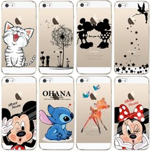 Buy iPhone 5 5S Case Cute Mickey & Minnie Kiss Soft TPU Silicone Case Apple iPhone 5S SE Phone Back Cover Transparent Fundas for $1.04 in AliExpress store