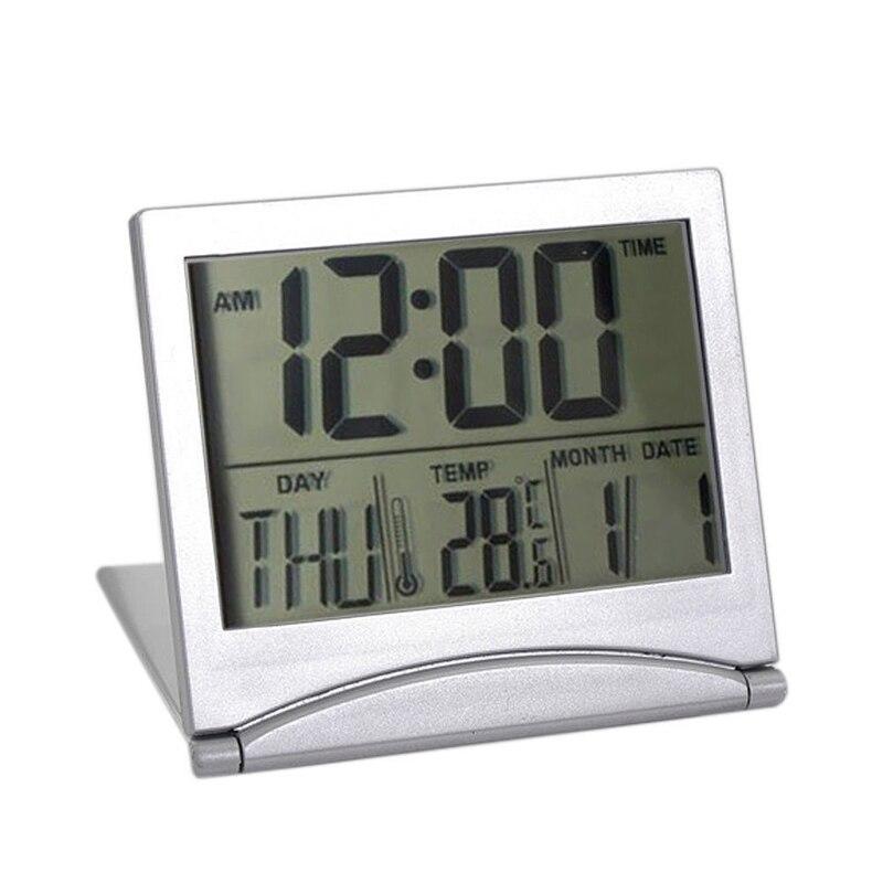 Folding Alarm Clock LCD Digital Weather Station Desk Temperature Travel Alarm Clock for Home Travel Digital Alarm Clock