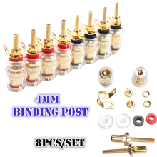 8PCS High Quality Binding Post Banana Plugs for Amplifier Speaker Terminal 4mm Plug with Transparent Covers Connectors