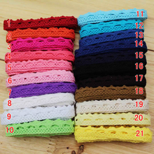 Free Shipping 0001 New 10 yards 100% laciness cotton handmade fabric diy multicolour laciness 1cm teeth laciness lace ribbon